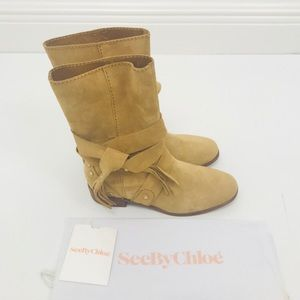 See By Chloe Medium Beige Suede leather boots